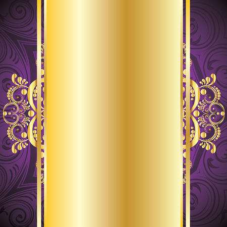 Vintage pruple background with decorative gold ribbon and floral ornament. Vettoriali