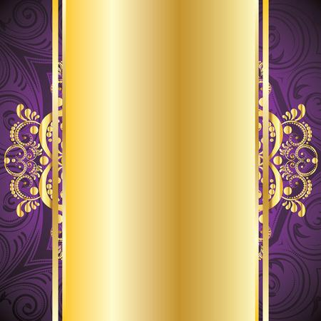 Vintage pruple achtergrond met decoratieve gouden lint en florale versiering.