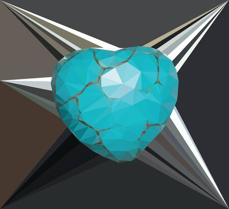 cracks: Low poly heart of turquoise color with cracks.
