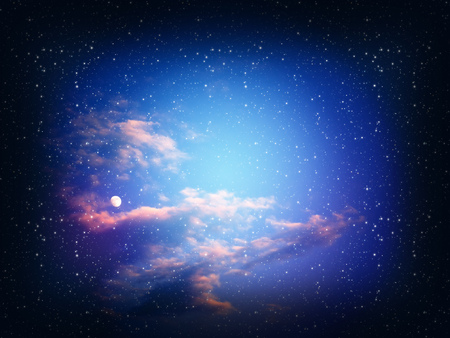 planetarium: Dark space background with clouds and stars. Stock Photo