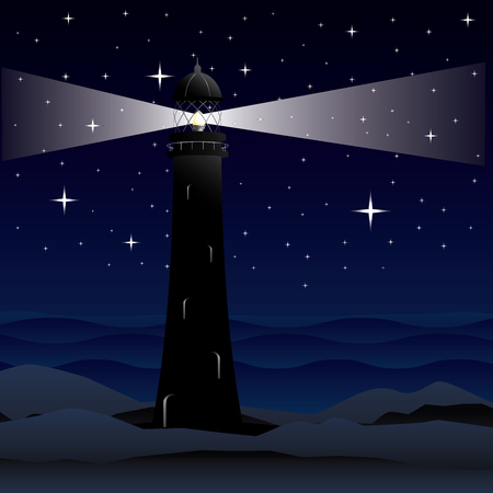 lighthouse at night: Cartoon landscape with lighthouse, night sea and starry sky. Illustration