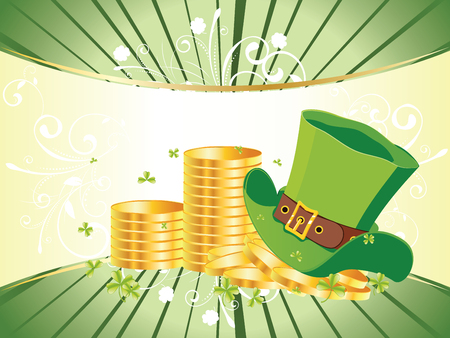 earthenware: Decorative gold and green design for St Patricks Day, holiday background. Illustration