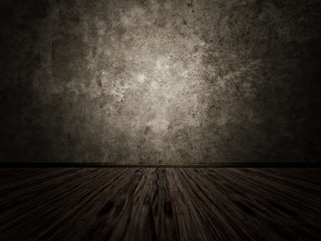 grunge room: Old grunge room with concrete wall, vintage background. Stock Photo