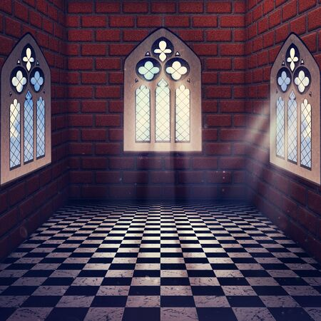 gothic window: Illustration of an abstract grunge interior with gothic window.
