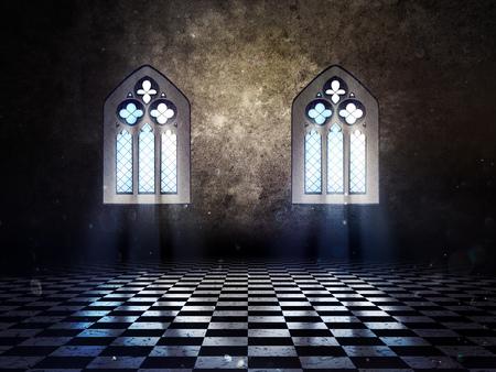 castillo medieval: Ilustración de un interior grunge con ventana gótica.