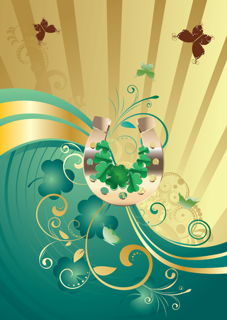 earthenware: Decorative gold and green design with shamrock for St Patricks Day, holiday background.