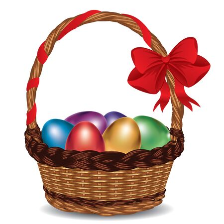 wicker: Wicker basket with glossy Easter eggs and a red bow.