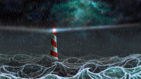 stormy sea: Lighthouse illuminated at night stormy sea, digital illustration. Stock Photo