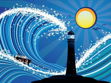 stormy: Sailboat and lighthouse in the blue stylized stormy sea.