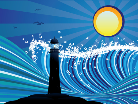 big waves: Blue stylized sea with big waves and lighthouse. Illustration