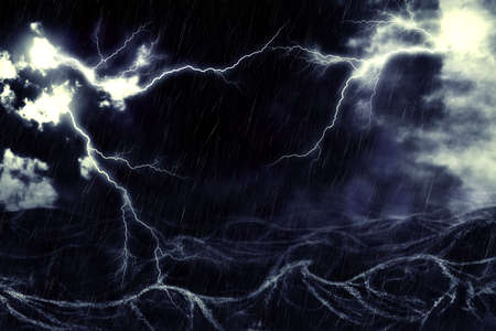 greatness: Active thunderstorm with lightning and rain over the sea digital illustration.