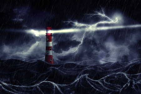 Lighthouse illuminated at night stormy sea in thunderstorm, digital illustration.