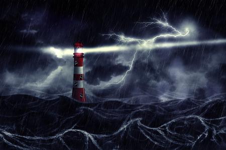 Lighthouse illuminated at night stormy sea in thunderstorm, digital illustration.