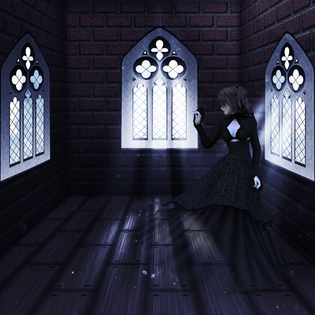castle interior: Illustration of haunted old castle interior with ghost, vampire, witch woman. Stock Photo