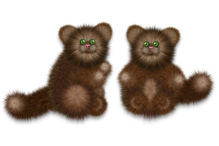 cat toy: Cute furry cat toy of brown color, stylized illustration. Stock Photo