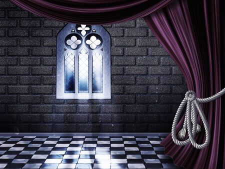 gothic window: Room with opened drapes, curtains and gothic window background.