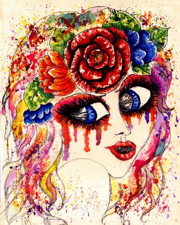 fantasy girl: Fantasy girl in flower crown, stylized watercolor portrait. Stock Photo
