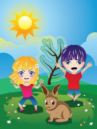 admiring: Cute happy cartoon little girl and boy on green lawn.