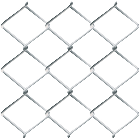 metal wire: Fence made of metal wire mesh illustration on white background.
