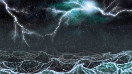 lifeless: Active thunderstorm with lightning and rain over the sea digital illustration.