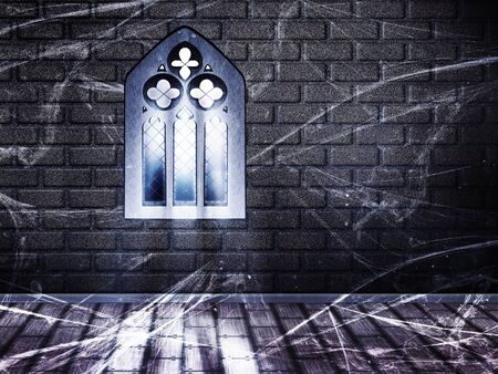 gothic window: Illustration of brick wall interior with wood floor and gothic window.