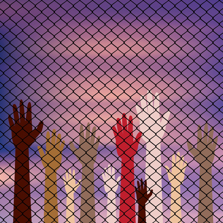 prisoner of war: Diversity hand silhouettes behind metal wire fence against blurry sky background.
