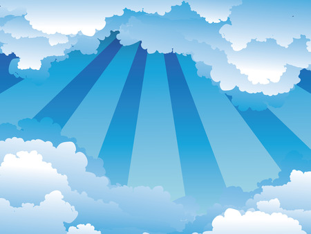 fluffy: White fluffy clouds on bright blue sky background. Illustration