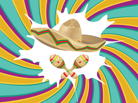 straw hat: Mexican straw hat sombrero and decorative maracas. Illustration