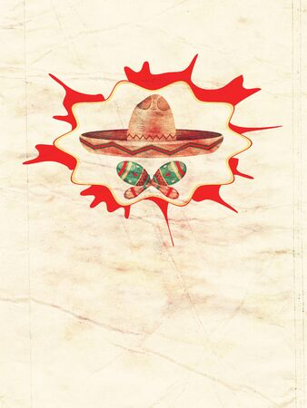 mexican background: Mexican straw hat sombrero and decorative maracas, paper textured. Stock Photo