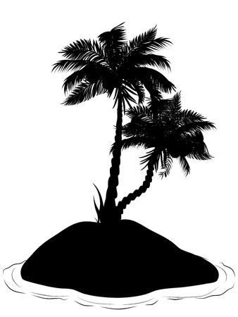 palmtree: Black silhouette of a tropical island with palm trees illustration.