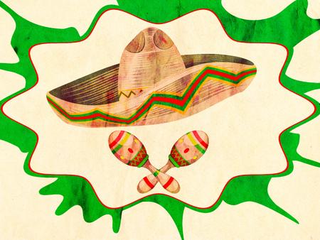 maracas: Mexican straw hat sombrero and decorative maracas, paper textured. Stock Photo