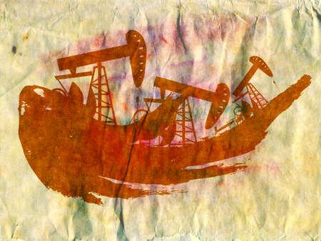 benzine: Oil industry grunge design with black splatter on paper background. Stock Photo