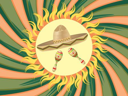 maracas: Mexican straw hat sombrero and decorative maracas. Illustration