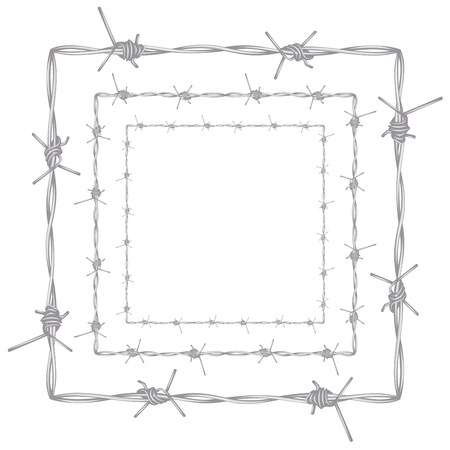 barbed: Metal barbed wire illustration on white background. Illustration