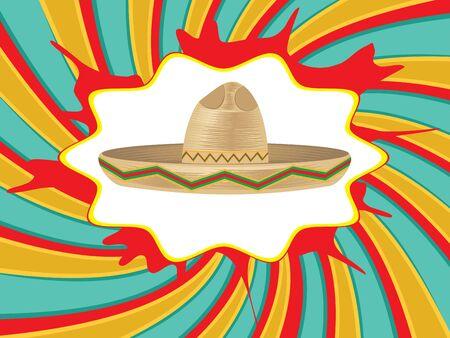 chapeau mexicain coloré, sombrero chapeau de paille icône.