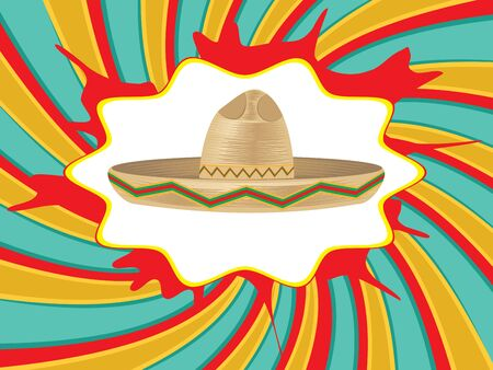 colorful straw: Colorful mexican hat, sombrero straw hat icon. Illustration