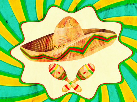 straw hat: Mexican straw hat sombrero and decorative maracas, paper textured. Stock Photo