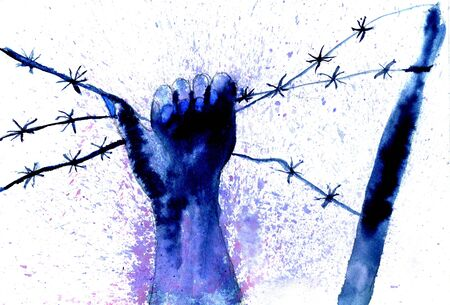 prisoner of war: Human hand with barbed wire, blue ink painting. Stock Photo