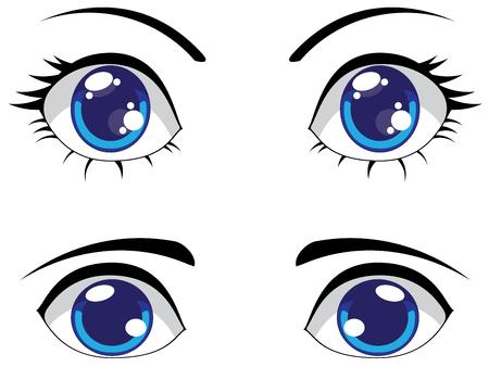 Big cartoon eyes of blue color, female and male eyes. Illustration