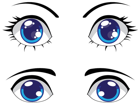 Big cartoon eyes of blue color, female and male eyes. Illustration