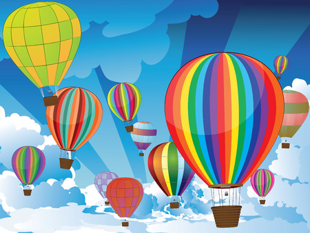 cloud drift: Group of hot air balloons on the blue sky with clouds.