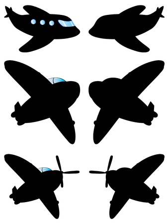 aviations: Simple black silhouettes of an airplane on white background. Illustration