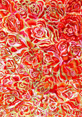 romantics: Lots of bright red roses background, watercolor painting.