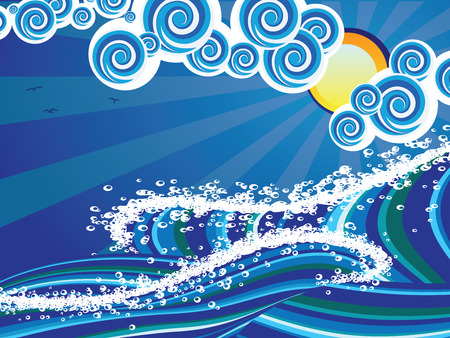 big waves: Blue stylized sea or ocean with big stormy waves.