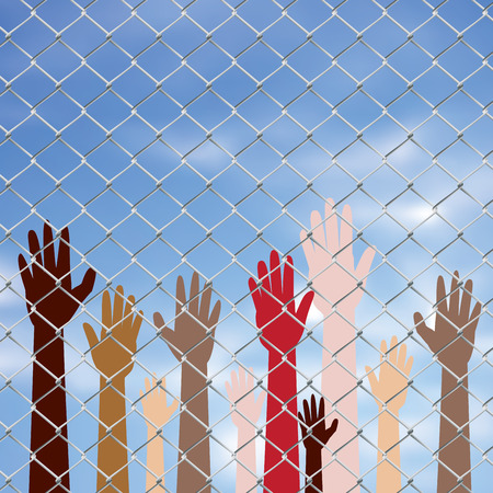 human hands: Diversity hand silhouettes behind metal wire fence against blurry sky background.