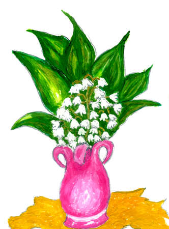 lily of the valley: Lily of the Valley flowers with leaves in pink vase, watercolor illustration.