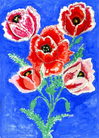 red poppy: Red poppy flower in bouquet over blue background, watercolor illustration.