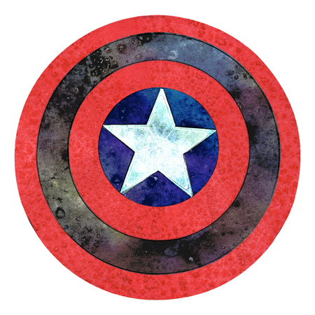 Shield with a star, red and blue grunge cartoon shield.