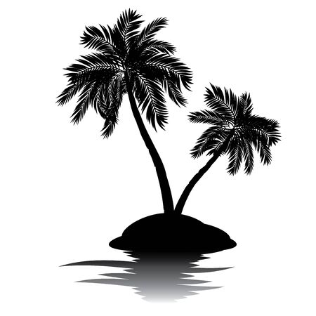 palmtrees: Black silhouette of a tropical island with palm trees illustration.
