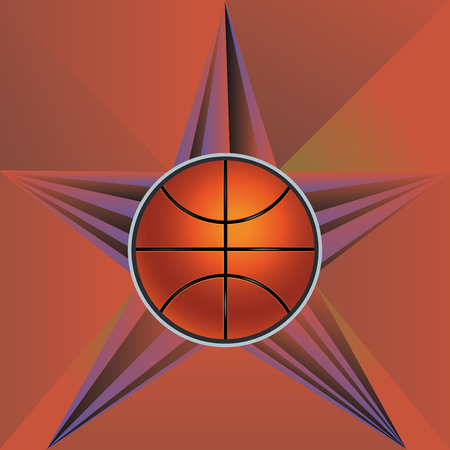 Retro rays and basketball ball, sport background.